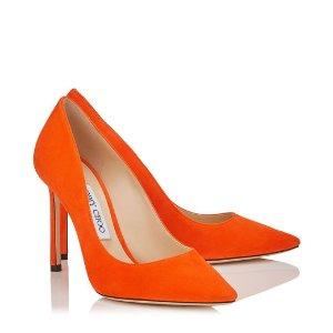 Pop Orange Suede Pointy Toe Pumps | Romy 100 | Spring Summer 17 | JIMMY CHOO