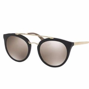Prada Mirrored Cat-Eye Double-Bridge Sunglasses, Black/Gold