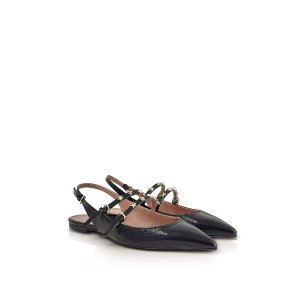 RED Valentino Black Leather Flat Slingback Sandals w/Stars 35 (5 US   2 UK   35 EU) at FORZIERI