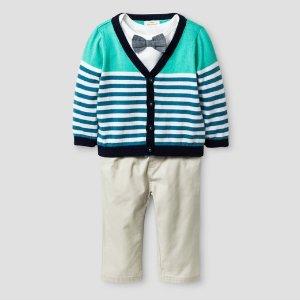Baby Boys' 3pc Stripe Cardigan, Bowtie Bodysuit and Twill Pant Set - Baby Cat & Jack™ White/Khaki : Target