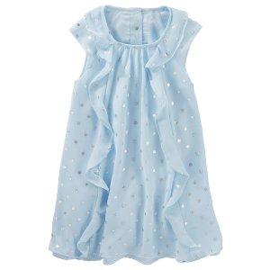Toddler Girl Ruffle Chiffon Foil Print Dress   OshKosh.com
