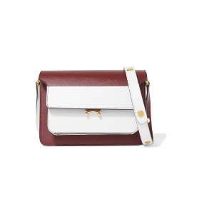 Trunk two-tone textured-leather shoulder bag