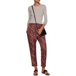 Trina printed silk-twill tapered pants