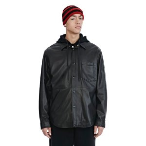 LEATHER COMBO HOODED SHIRT