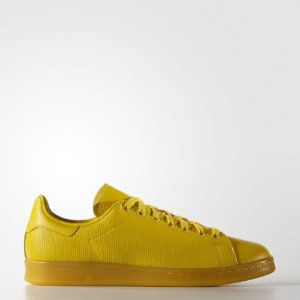 adidas Originals Men's Stan Smith Perforated Leather Yellow Athletic Sneakers | eBay