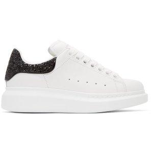 Alexander McQueen: White & Black Glitter Oversized Sneakers | SSENSE