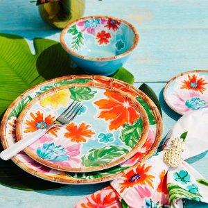 Tropical 12-Piece Melamine Dinnerware Set with 4 Bonus Appetizer Plates | Sur La Table