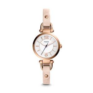 Georgia Three-Hand Blush Leather Watch