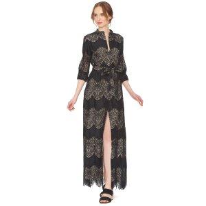 Sina Tie 黑色条纹连衣裙