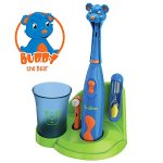 Brusheez Children's Electronic Toothbrush Set – Includes Battery-Powered Toothbrush, 2 Brush Heads, Cute Animal Head Cover, 2-Minute Sand Timer, Rinse Cup, and Storage Base