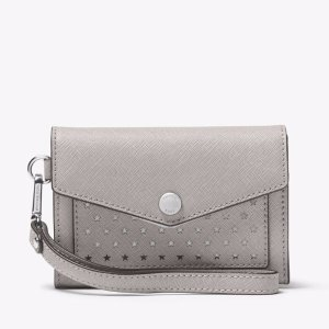 Honey Perforated Leather Wristlet