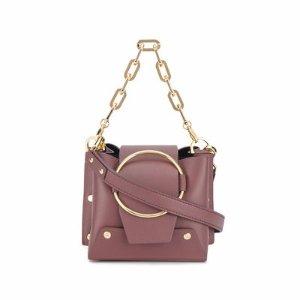 YuzefiMini Burgundy leather Delila bucket bag