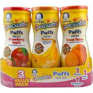 Gerber Graduates Puffs Cereal Snack Variety 3 Pack