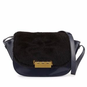 ZAC Zac Posen Eartha Leather & Shearling Crossbody Bag, Midnight/Black