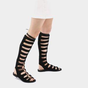 Liliana Knee Length Lace Up Flats in Black Faux Suede | Public Desire