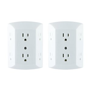 $8.99GE Grounded 6-Outlet Wall Tap with Adapter Spaced Outlets 2 Pack