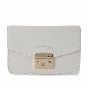Furla - Furla Metropolis White Leather Pochette - 869679-PETALO, Women's Clutches | Italist