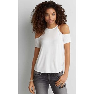AEO HI-NECK COLD SHOULDER T-SHIRT