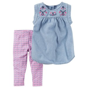 Carter's Newborn, Infant & Toddler Girls' Sleeveless Top & Leggings - Medallion - Sears