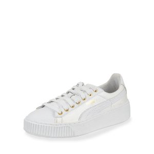 Puma Basket Pearlized Leather Low-Top Sneaker