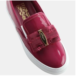 Salvatore Ferragamo Patent Leather Pacau Slip-On Sneaker Sneakers