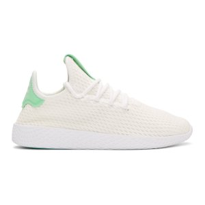 adidas Originals x Pharrell Williams - White & Green Tennis Hu Sneakers