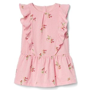 Floral ruffle-front dress