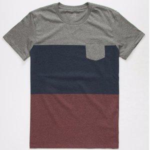 BLUE CROWN Timber Colorblock Mens Pocket Tee 279445115 | Solid + Stripe Tees