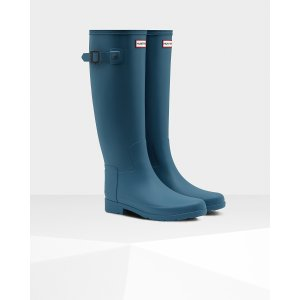 Womens Blue Tall Refined Rain Boots | Official US Hunter Boots Store