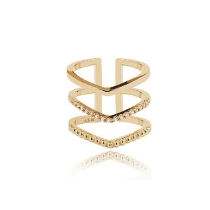Gold Triple Bar Cocktail Ring