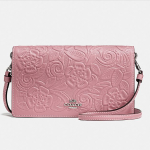 Foldover Crossbody Clutch In Glovetanned Leather With Tea Rose Tooling @ Coach
