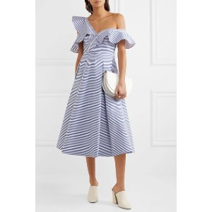Self-Portrait   Off-the-shoulder striped cotton-poplin midi dress