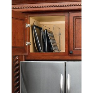 Rev-A-Shelf 12 in. H x 0.75 in. W x 20 in. D Single Chrome Bakeware and Tray Divider-597-12CR-52 - The Home Depot