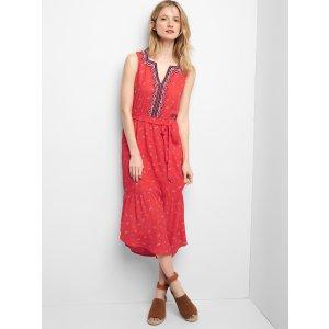 Embroidery midi tier dress | Gap