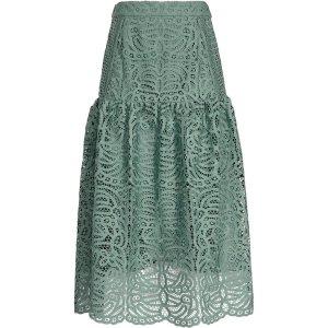 Eva Thyme Lace Midi Skirt - REISS