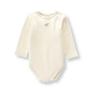 Layette Ivory Embroidered Lamb Bodysuit at JanieandJack