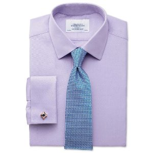Classic fit Egyptian cotton cavalry twill lilac shirt | Charles Tyrwhitt