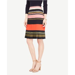 Fluted Striped Skirt | Ann Taylor