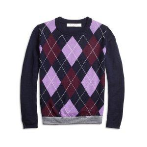 Girls' Merino Wool Blend Navy, Purple, and Burgundy Argyle Sweater   Brooks Brothers
