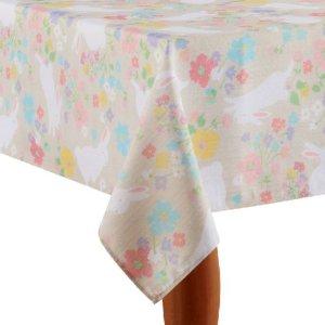 Celebrate Easter Together Bunny Floral Print Tablecloth