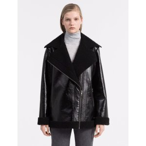 coated faux shearling jacket