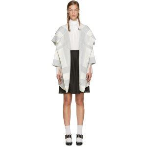 Burberry: White & Grey Horlton Coat