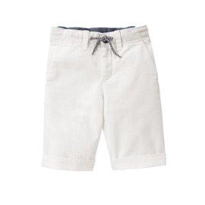 Boys White Linen Shorts by Gymboree