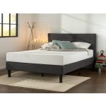 Zinus Upholstered Diamond Stitched Platform Bed with Wooden Slat Support, Queen Size