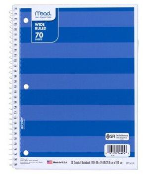 $0.38Mead 70页宽页笔记本