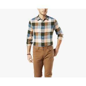 Wrinkle Twill Shirt, Slim Fit | Green | Dockers® United States (US)