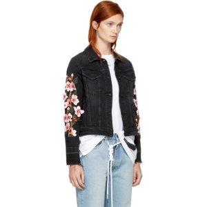 Off-White - Black Denim Diagonal Cherry Jacket