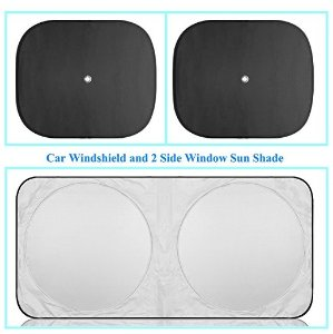 Sojoy Car Windshield And 2 Side Window Sun Shade . Excellent UV Reflector , Keeping You Cooler With A Pristine Interior - Easy To Use Sun Shades