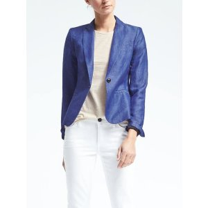 Chambray Linen-Blend Blazer | Banana Republic