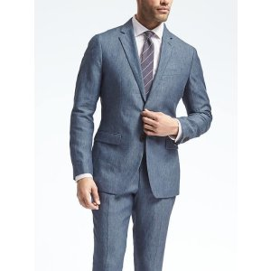 Slim Solid Linen Suit Jacket | Banana Republic